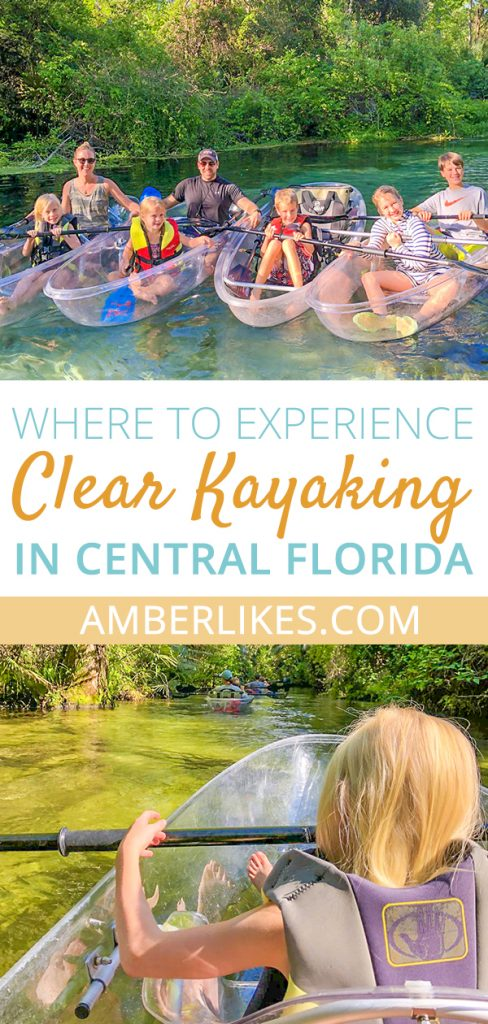 Explore the beautiful Florida waterways in a clear kayak with Get Up and Go Kayaking. Orlando lifestyle blogger, Amber Likes shares the amazing clear kayaks