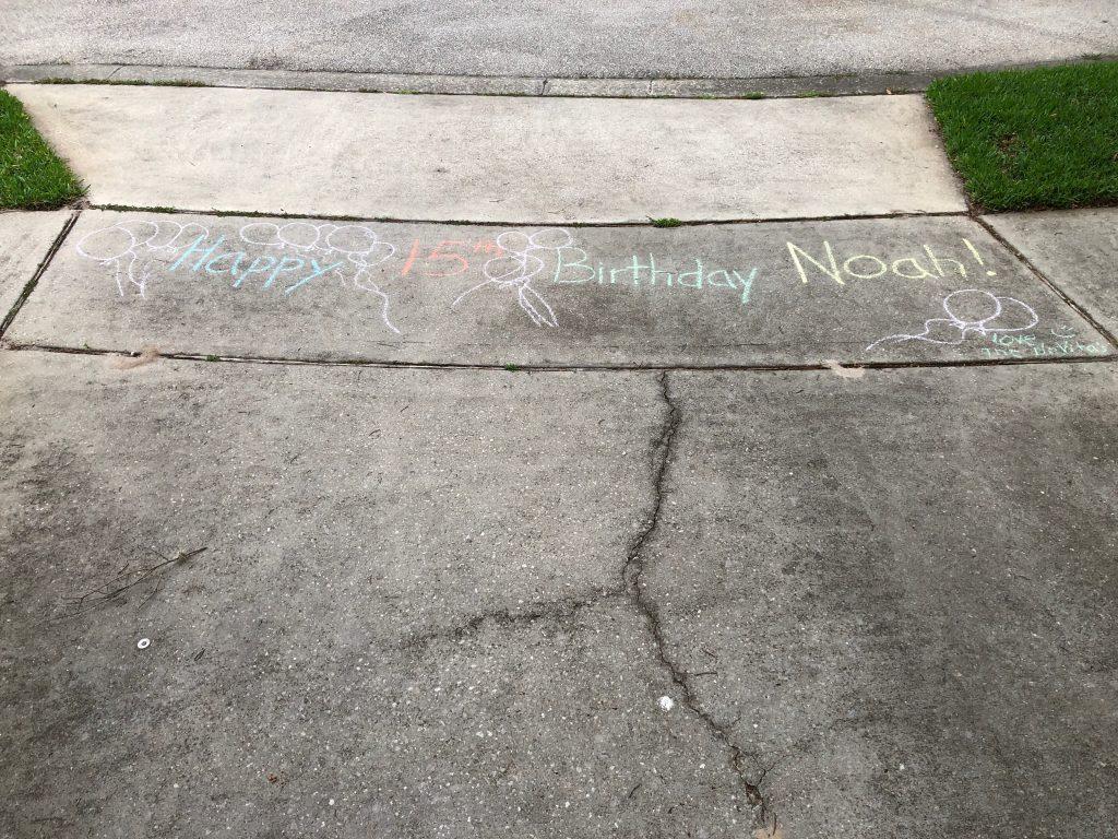 birthday chalk art