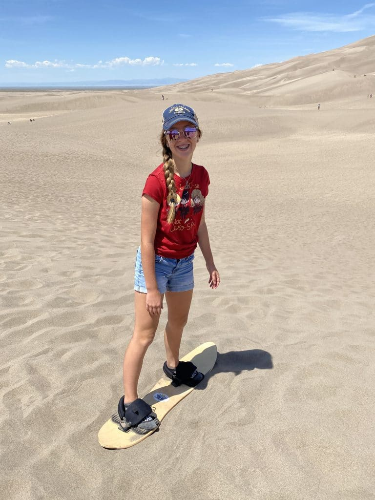 sand board in great sand dunes national park