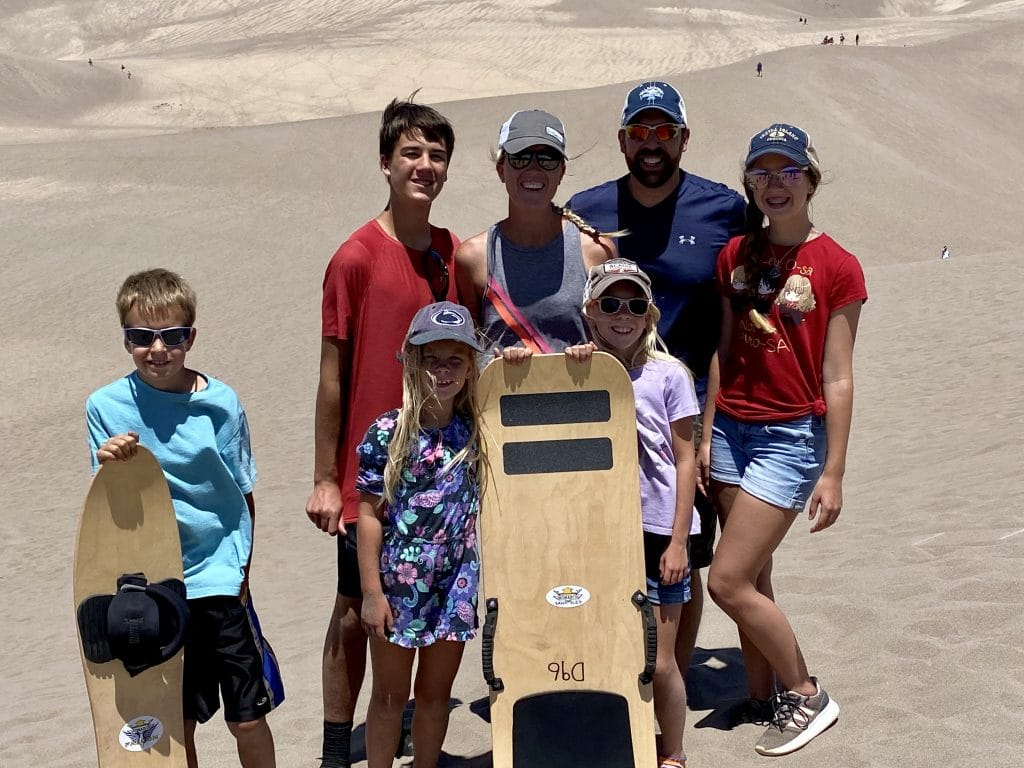 sand sled in great sand dunes national park