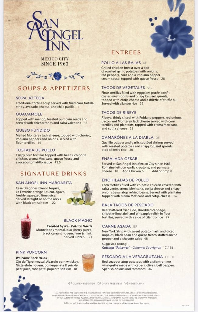 San Angel Inn Epcot menu